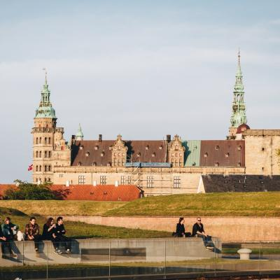 People hanging out in front of Kronborg Castle in Helsingør
