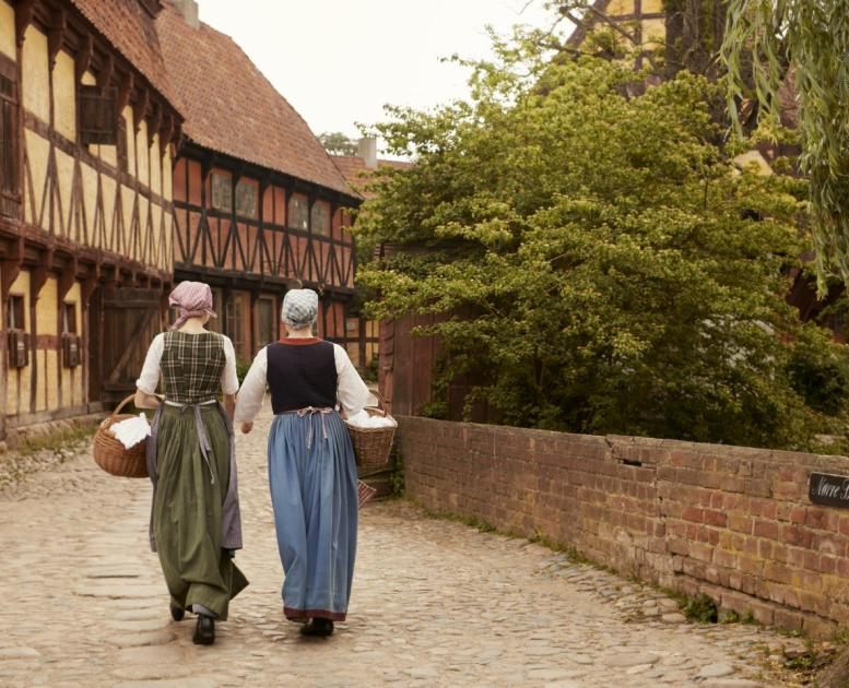 Women walking in the Old Town Museum in Aarhus