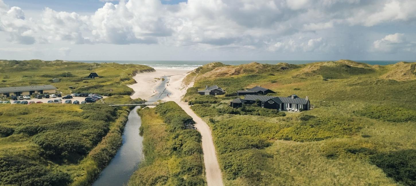 Seaside hotel and summer houses at Henne Beach